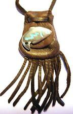 "Medicine bag, Pueblo Zuni design - Fish on dark brown ""long life, good fortune"""