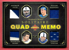 2020 Manning - Unitas - Luck - Berry President's Choice Solitaire 1/1 Relic