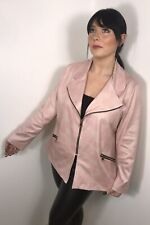 Pink Suede Jacket Faux Stretchy Soft Feel Gold Zips Plus Size Fits 16 18 20 NEW