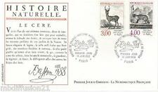 1988//ENVELOPPE**FDC 1°JOUR!!**ANIMAUX-LE CERF-BUFFON**TIMBRE Y/T 2540-2541