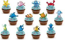 sea creatures fish EDIBLE wafer cupcake toppers birthday beach party
