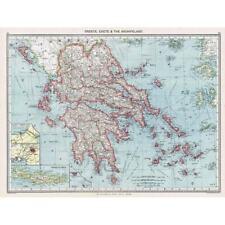 Antique Map 1906 - Greece, Crete & The Archipelago - Harmsworth Atlas