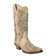 Corral Ladies White Glitter Inlay/Crystals Wedding Boot A3322