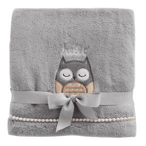 "《NEW》Just Born ""Hello"" Owl Plush Baby Blanket, Gray, Size 30"" x 40"""