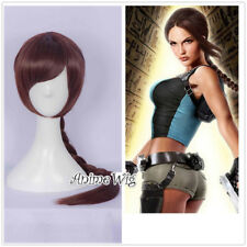 Anime Tomb Raider Lara.Croft Braid Halloween Brown Cosplay Wig Heat Resistant