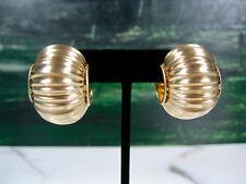 HUGE PR VINTAGE ITALIAN SOLID 14K YELLOW BRUSHED GOLD RIBBED PUFFY HOOP EARRINGS