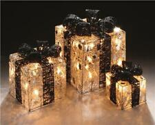 PREMIER DECORATIONS SET OF 3 SILVER PARCELS WITH BLACK BOW AND FAIRY LIGHTS