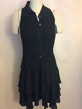 McQ Alexander McQueen Lace Inset Sleeveless Flounce Dress Black IT40 Sz 4