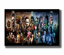 W556 Classic Horror Movie Characters Monster Collage Silk Poster Decor