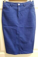 Ladies Size 12 Blue Body Con Denim Skirt - Temt