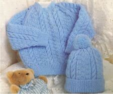Knitting Pattern Baby's Cute 4 or 3 Ply Cable Sweater & Hat Set  (81)