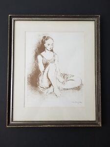 Moses Soyer Ballet Dancer Original Lithograph Framed American Russian Artist