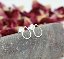 Solid Sterling Silver Teardrop Stud Earrings-Silver Earrings