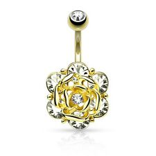 GOLD Plated Gem Rose Flower BELLY Button NAVEL Bar RINGS Stud Piercing Jewelry