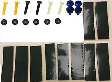 NUMBER PLATE FIXING KIT NUT & BOLT YELLOW WHITE BLACK BLUE X12 & 20 STICKY PADS