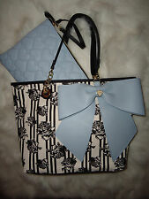 BETSEY JOHNSON 2 IN 1 BIG BOW BLUE FLORAL TOTE SET HANDBAG PURSE BAG WOW! NWT