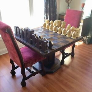 Antique King Richard II Chess Set Mid Century Furniture Table Red Velvet Chairs