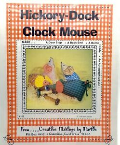 Craft Pattern Hickory Dock Clock Mouse Door Stop Book End New Vintage 1978