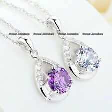 GIFTS FOR HER 925 Silver Crystal Diamond Necklace Xmas Mum Daughter Sister Women