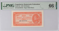 Yugoslavia 20 Dinara 1944 P 51 c Gem UNC PMG 66 EPQ