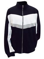 New Mens Black Colour Block Zip Up Jumper/Jacket Plus Size by Jacamo XL, 1XL, 2X