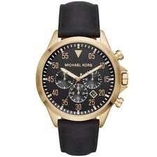 Michael Kors Men's Watch Gage Chronograph Black Dial Leather Strap MK8618