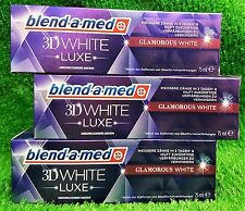 (5,55€/100g) 3x Blend-a-med 3D WHITE LUXE GLAMOROUS WHITE  Zahncreme Versand 0€