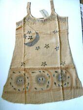Ethnic Dreams Med Boho Festival Mini Dress Embroidered Tan Cotton Rayon
