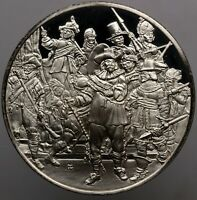 VINTAGE GENIUS OF REMBRANDT THE NIGHT WATCH SILVER CAMEO FRANKLIN MINT (DR)