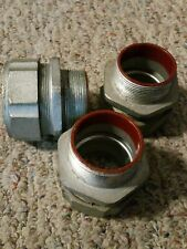 "3 Conduit Liquid Tight Fitting sraight 2"" inch Malleable Iron lot of 3"