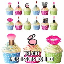 PRECUT Make-Up / Cosmetics Party Pack 36 Edible Cup Cake Toppers Decorations