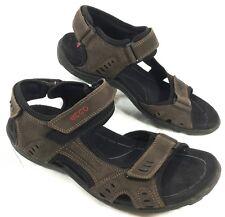 Ecco Receptor Flex Ankle Strap Sport Sandals Brown leather Sz 45 US 11-11.5