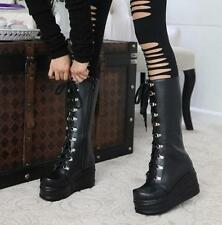 Gothic Punk Womens Lace Up Wedge Heels High Platform Motorcycle Knee High Boots