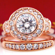 Genuine Solid 9ct Rose Gold Engagement Wedding 2 Rings Set Lab Created Diamonds