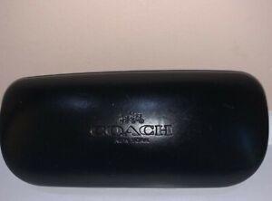 Coach Black Leather Hard Clamshell Sunglass Eyeglass Case Holder