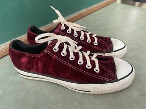 Vintage Converse All Star Crushed Red Velvet Velour Shoes USA Mens 6.5