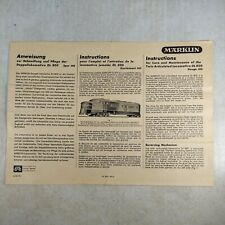 Marklin DL800 HO Scale Locomotive Manual Instructions - French, English, German