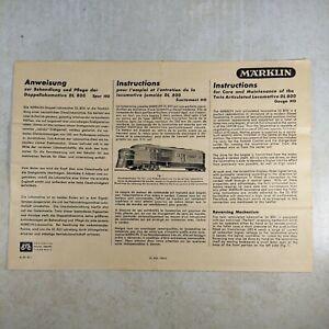 Marklin DL800 HO Scale Locomotive Manual Instructions - French, English, German