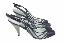 Bottines Sandales Chaussures Taille 5 Noir avec talon argenté Designer races Party Cocktail