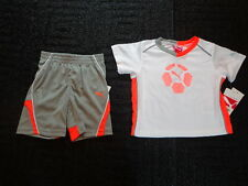 NWT Baby Boys Puma Gray Orange Shorts White Orange Gray Shirt Size 12 Month