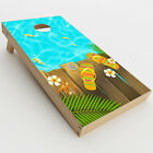 Skin Decal for Cornhole Game Board Bag Toss 2xpcs. / Flip Flops and Fish Sum