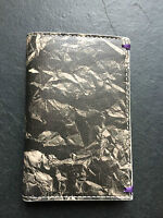 Paul Smith Men Black crumpled paper graphics 6 credit card small wallet