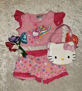 Build a Bear Hello Kitty 4 Piece Lot Pajama Set Shorts, T-Shirt, Purse,  Flowers