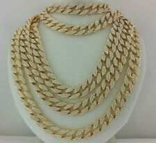 Iced Miami Cuban Link Chain Choker Necklace Anklet Bracelet Gold Silver 15mm Box