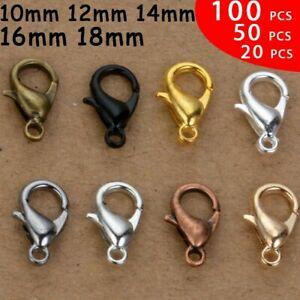 Lobster Clasps 10 20 50 100 Pcs Lot Neckless Jewelry Hook Gold Silver Black mm