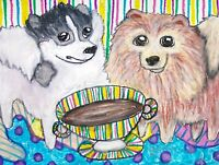 Pomernian Drinking Coffee Dog Collectible Art Print 8x10 Signed by Artist KSams