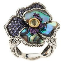 NEW Barbara Bixby Sterling/18K Abalone and Gemstone Pansy Ring Sz 7 GORGEOUS!!!