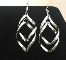 Silver Toned Stylish Wave Spiral Twisted Dangle Earrings Pierced Ears Wire Hook