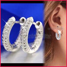 9K WHITE GOLD GF WEDDING RING HOOP EARRINGS SLEEPER made with SWAROVSKI CRYSTALS