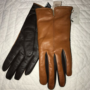 GLOVES brown black leather  lined cashmere  size 7.5  NEW NWT  Fratelli Orsini